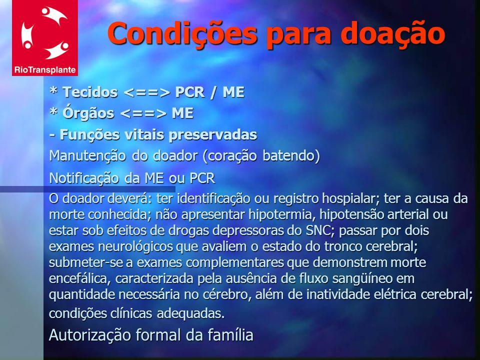 Condições para doação * Tecidos PCR / ME * Órgãos ME - Funções vitais preservadas Manutenção do doador (coração batendo) Notificação da ME ou PCR O do