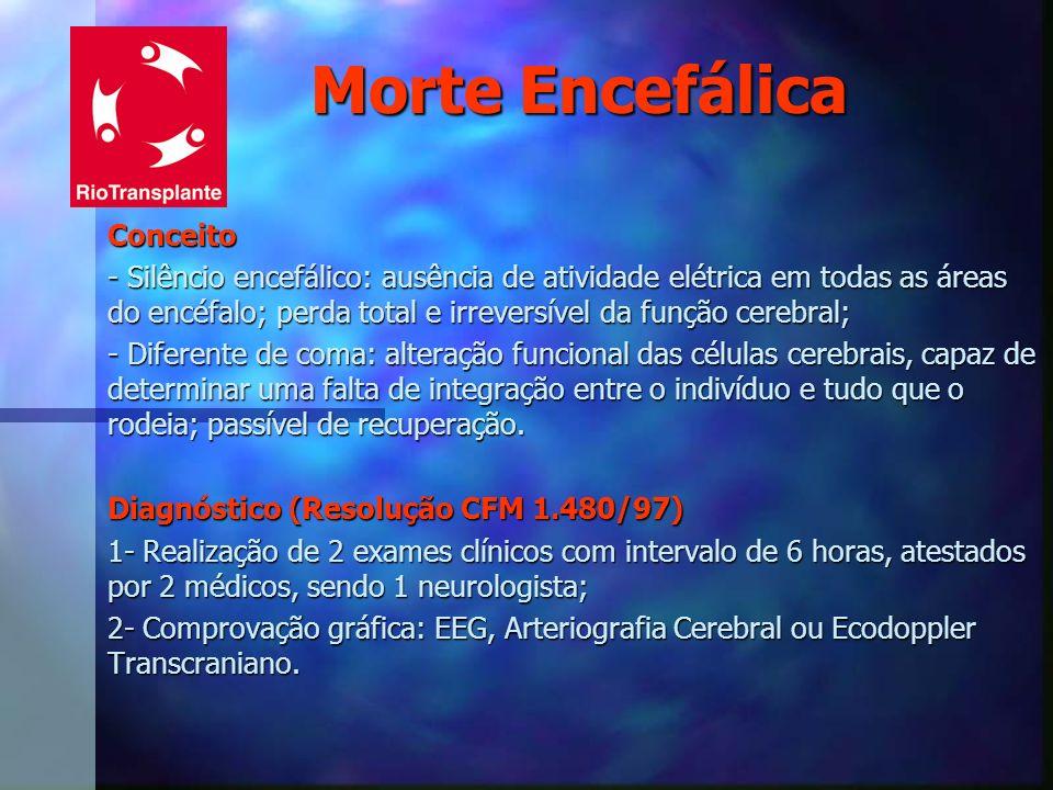 Morte Encefálica Conceito - Silêncio encefálico: ausência de atividade elétrica em todas as áreas do encéfalo; perda total e irreversível da função ce