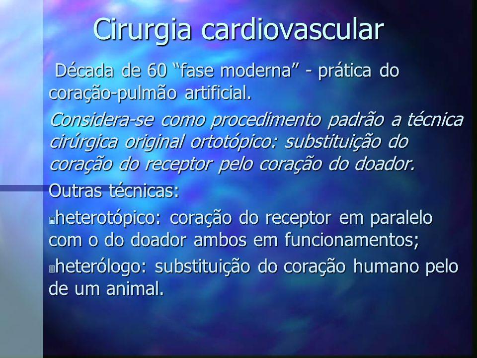 Cirurgia cardiovascular Década de 60 fase moderna - prática do coração-pulmão artificial. Década de 60 fase moderna - prática do coração-pulmão artifi