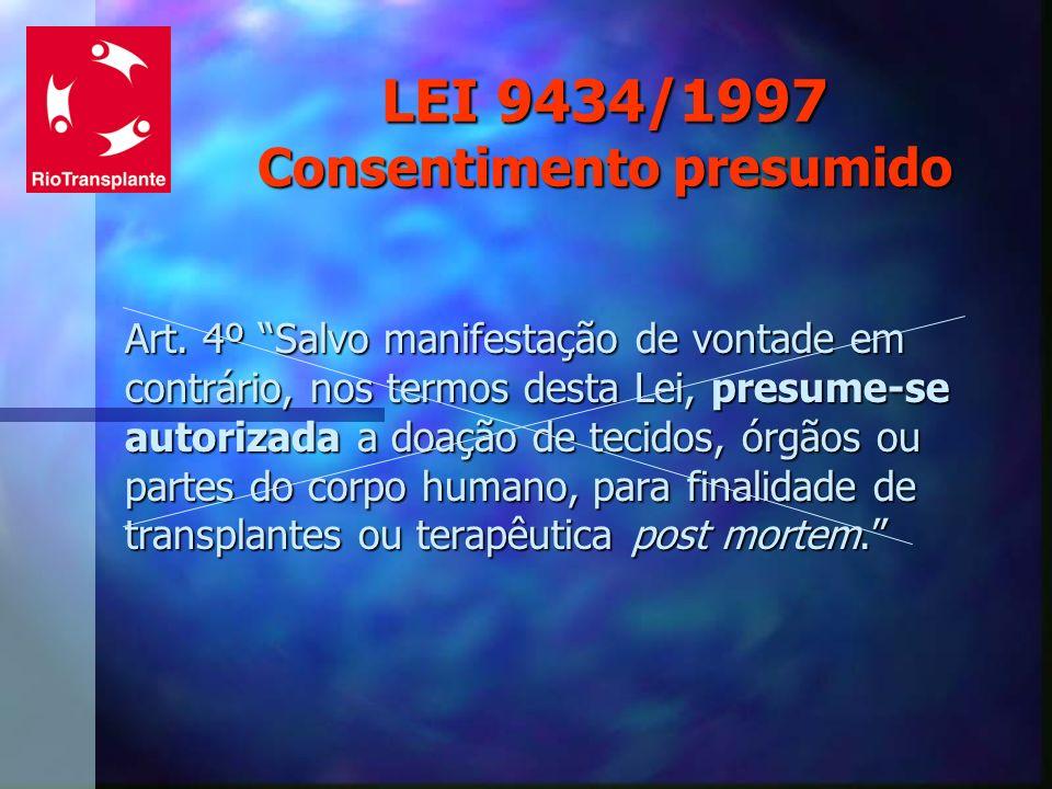 LEI 9434/1997 Consentimento presumido Art. 4º Salvo manifestação de vontade em contrário, nos termos desta Lei, presume-se autorizada a doação de teci