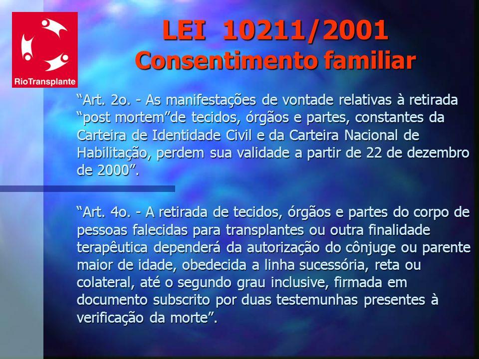 LEI 10211/2001 Consentimento familiar Art. 2o. - As manifestações de vontade relativas à retirada post mortemde tecidos, órgãos e partes, constantes d