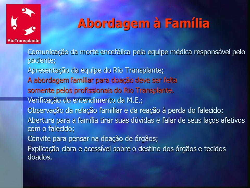 Abordagem à Família Comunicação da morte encefálica pela equipe médica responsável pelo paciente; Apresentação da equipe do Rio Transplante; A abordag