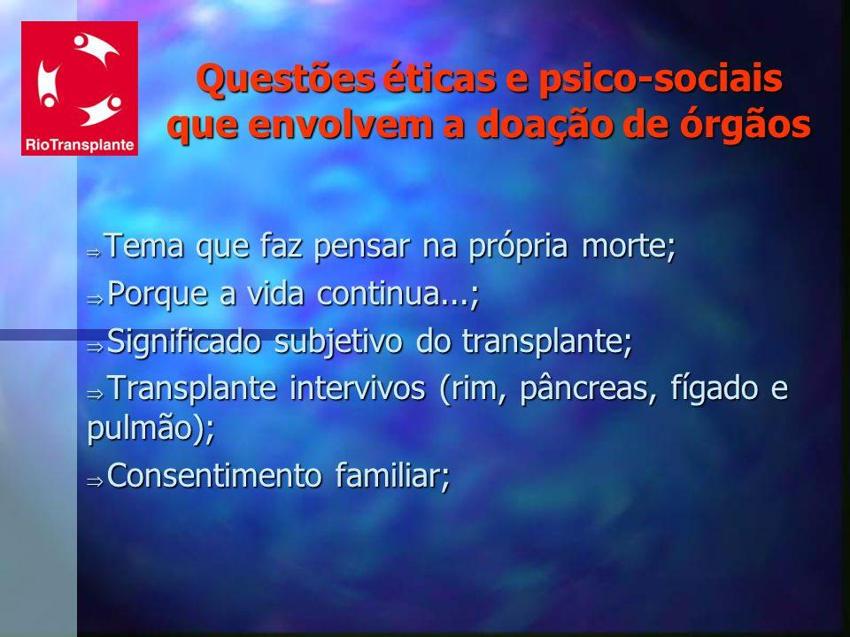 Questões éticas e psico-sociais que envolvem a doação de órgãos Tema que faz pensar na própria morte; Tema que faz pensar na própria morte; Porque a v