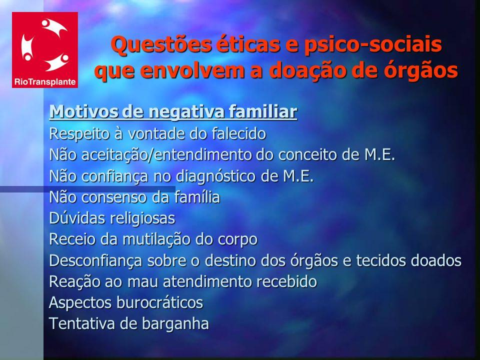 Questões éticas e psico-sociais que envolvem a doação de órgãos Motivos de negativa familiar Respeito à vontade do falecido Não aceitação/entendimento