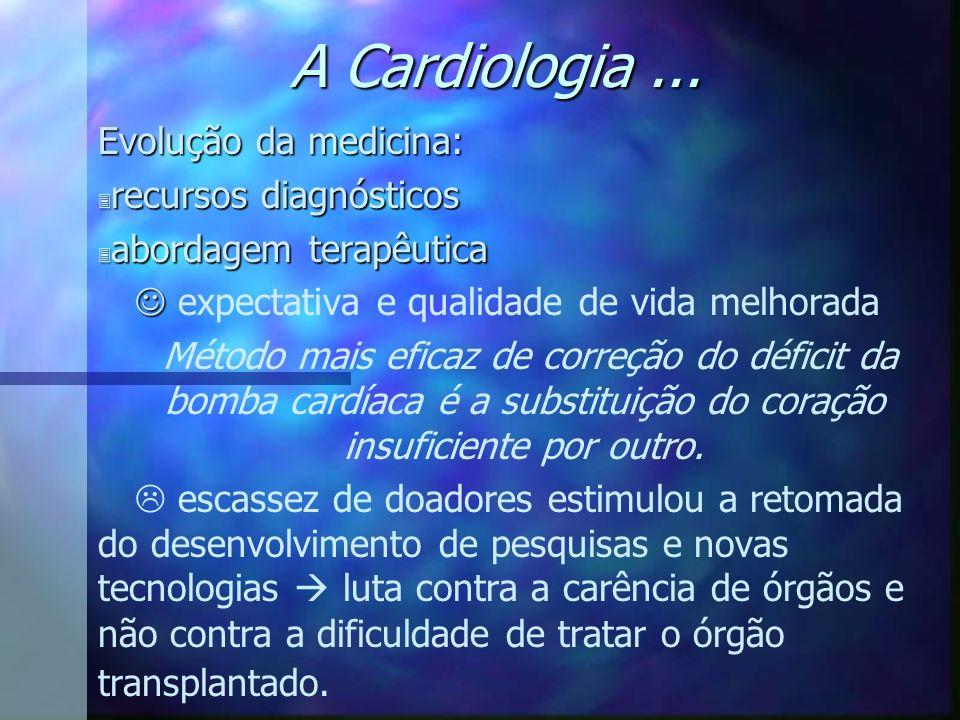 A Cardiologia... Evolução da medicina: 3 recursos diagnósticos 3 abordagem terapêutica expectativa e qualidade de vida melhorada Método mais eficaz de