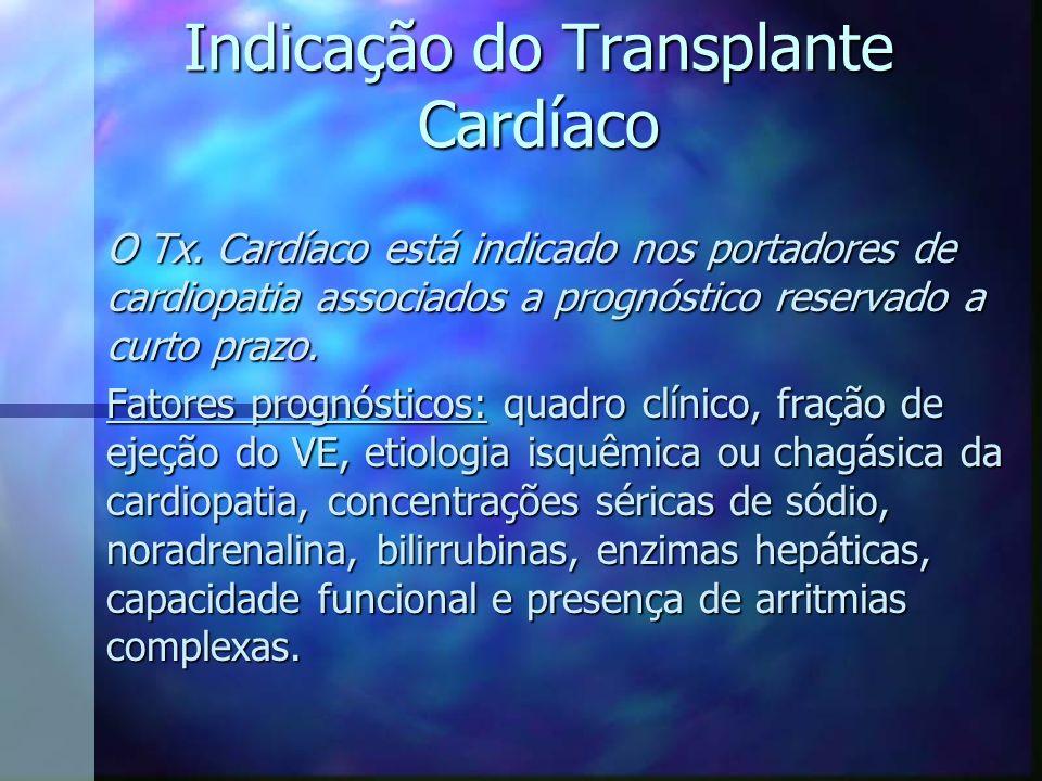 Indicação do Transplante Cardíaco O Tx. Cardíaco está indicado nos portadores de cardiopatia associados a prognóstico reservado a curto prazo. Fatores