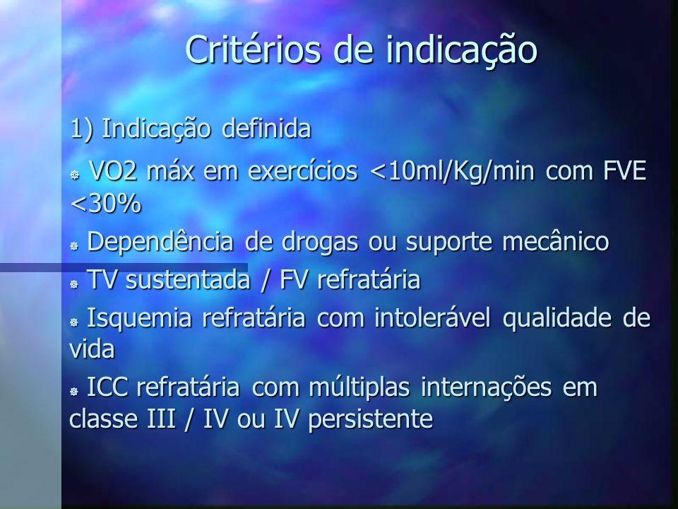 Critérios de indicação 1) Indicação definida ] VO2 máx em exercícios <10ml/Kg/min com FVE <30% ] Dependência de drogas ou suporte mecânico ] TV susten