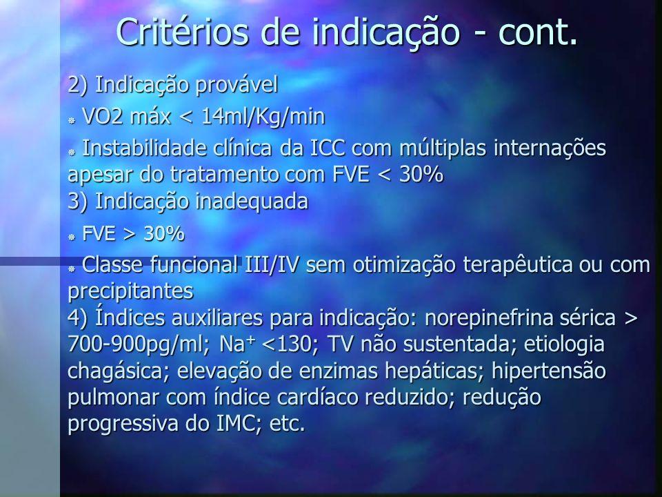 Critérios de indicação - cont. 2) Indicação provável ] VO2 máx < 14ml/Kg/min ] Instabilidade clínica da ICC com múltiplas internações apesar do tratam