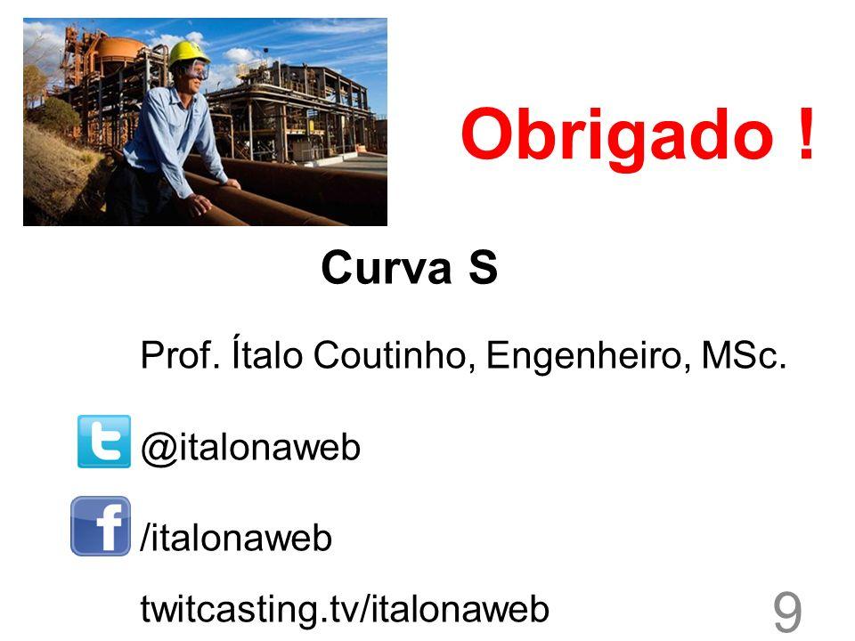 9 Curva S Prof. Ítalo Coutinho, Engenheiro, MSc. @italonaweb /italonaweb twitcasting.tv/italonaweb Obrigado !