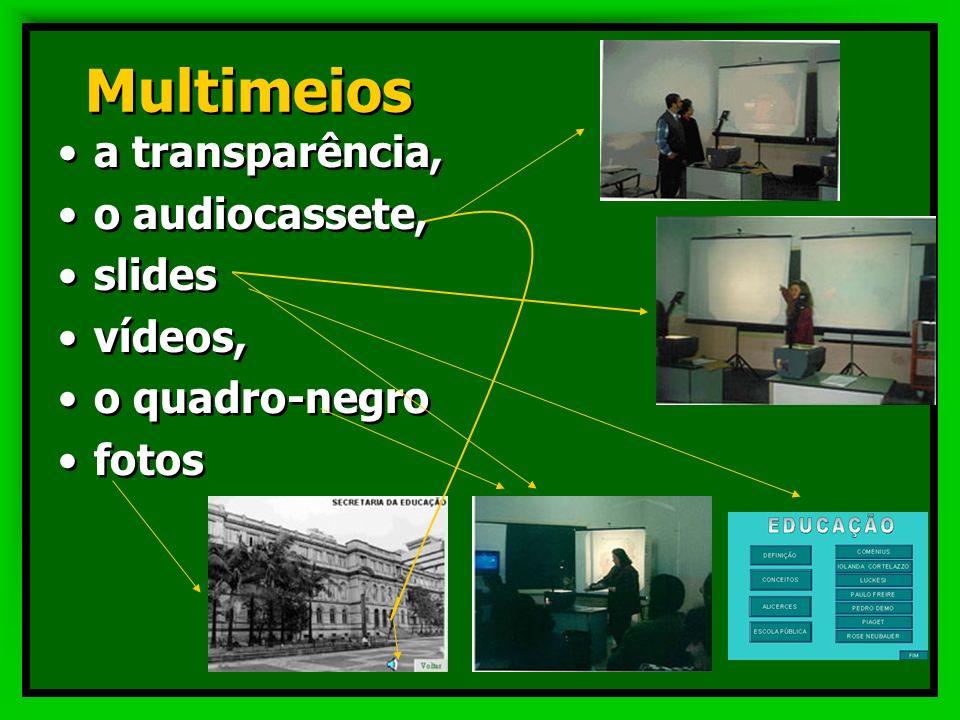 Multimeios integrando as diferentes linguagens de forma interativa de acordo com os objetivos estabelecidos,. Criando uma rede de significados que int