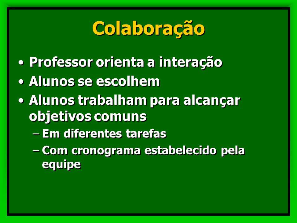 Cooperação Professor orienta a interação Professor escolhe alunos Alunos trabalham para alcançar objetivos comuns –Em diferentes tarefas –Com cronogra