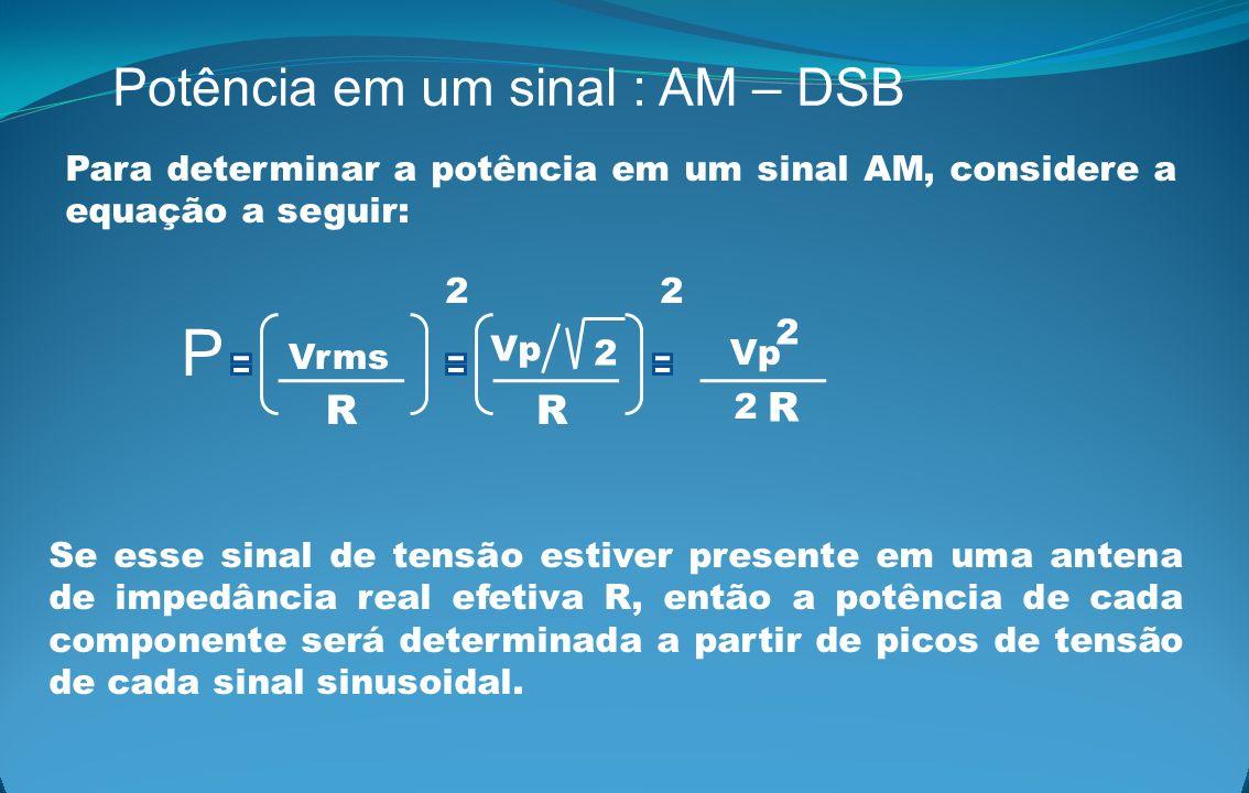 Potência em um sinal : AM – DSB Para determinar a potência em um sinal AM, considere a equação a seguir: Vrms Vp 2 2 2 P 2 R 2 RR Vp Se esse sinal de
