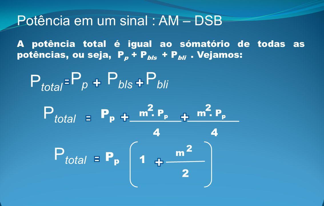 Potência em um sinal : AM – DSB A potência total é igual ao sómatório de todas as potências, ou seja, P p + P bls + P bli. Vejamos: P bli P bls PpPp P