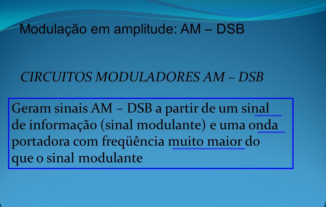Modulação em amplitude: AM – DSB CIRCUITOS MODULADORES AM – DSB Geram sinais AM – DSB a partir de um sinal de informação (sinal modulante) e uma onda
