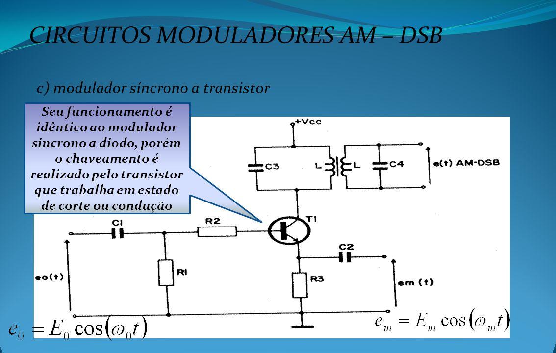 CIRCUITOS MODULADORES AM – DSB c) modulador síncrono a transistor Seu funcionamento é idêntico ao modulador sincrono a diodo, porém o chaveamento é re