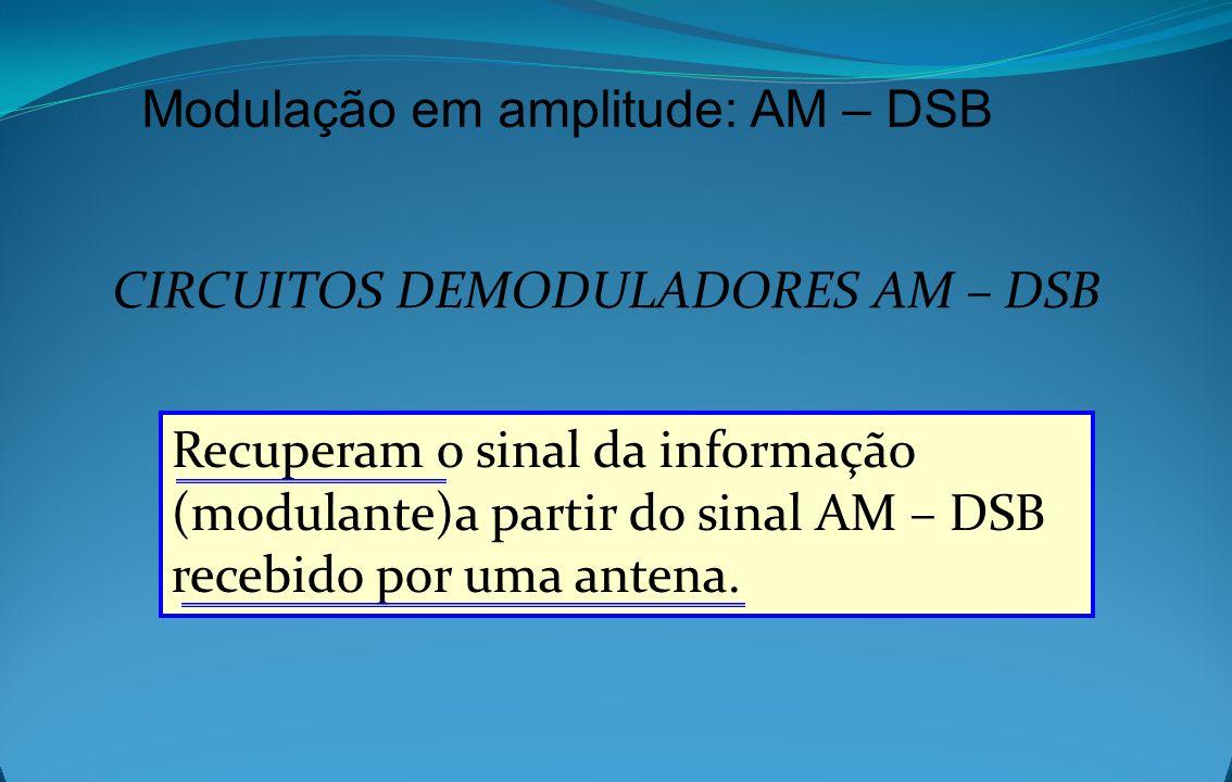 Modulação em amplitude: AM – DSB CIRCUITOS DEMODULADORES AM – DSB Recuperam o sinal da informação (modulante)a partir do sinal AM – DSB recebido por u