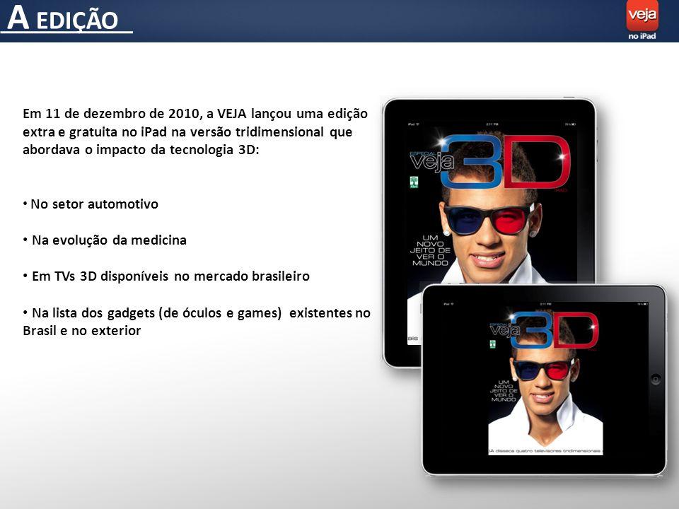 A EDIÇÃO Em 11 de dezembro de 2010, a VEJA lançou uma edição extra e gratuita no iPad na versão tridimensional que abordava o impacto da tecnologia 3D: No setor automotivo Na evolução da medicina Em TVs 3D disponíveis no mercado brasileiro Na lista dos gadgets (de óculos e games) existentes no Brasil e no exterior