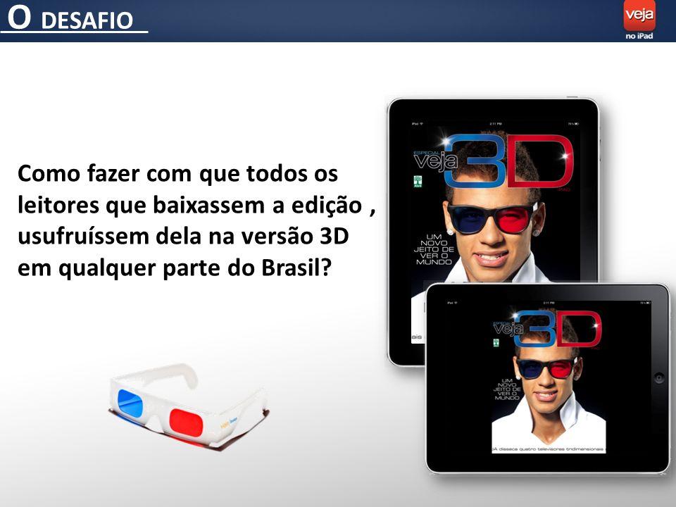 O DESAFIO Como fazer com que todos os leitores que baixassem a edição, usufruíssem dela na versão 3D em qualquer parte do Brasil