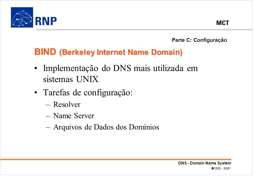 DNS - Domain Name System 1998 - RNP Implementação do DNS mais utilizada em sistemas UNIX Tarefas de configuração: –Resolver –Name Server –Arquivos de