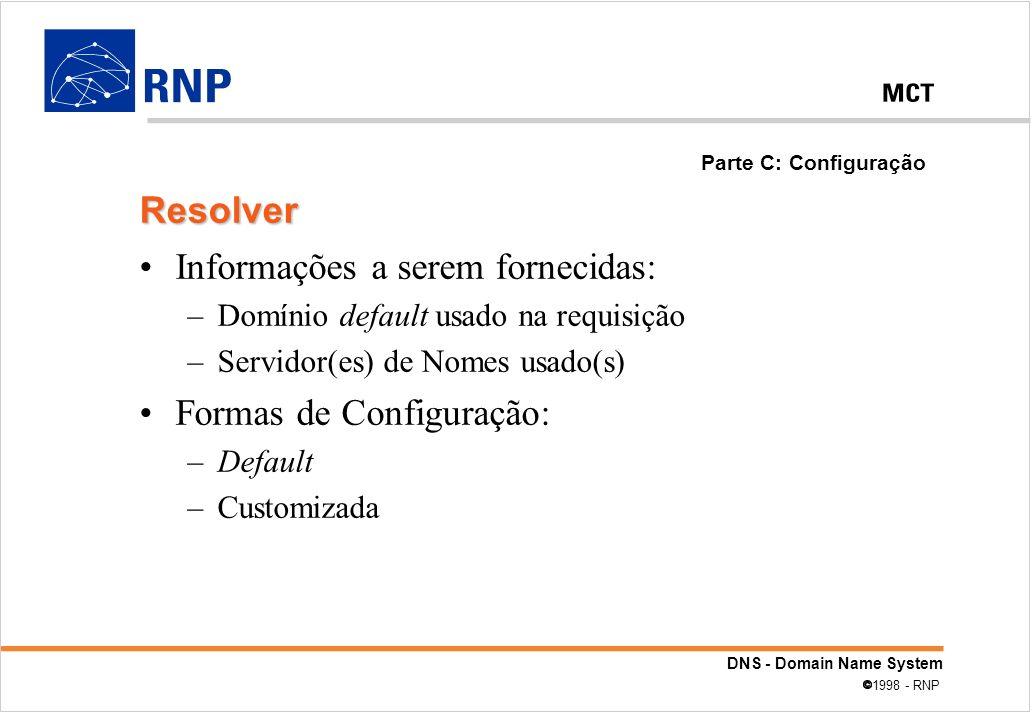 DNS - Domain Name System 1998 - RNP Informações a serem fornecidas: –Domínio default usado na requisição –Servidor(es) de Nomes usado(s) Formas de Con