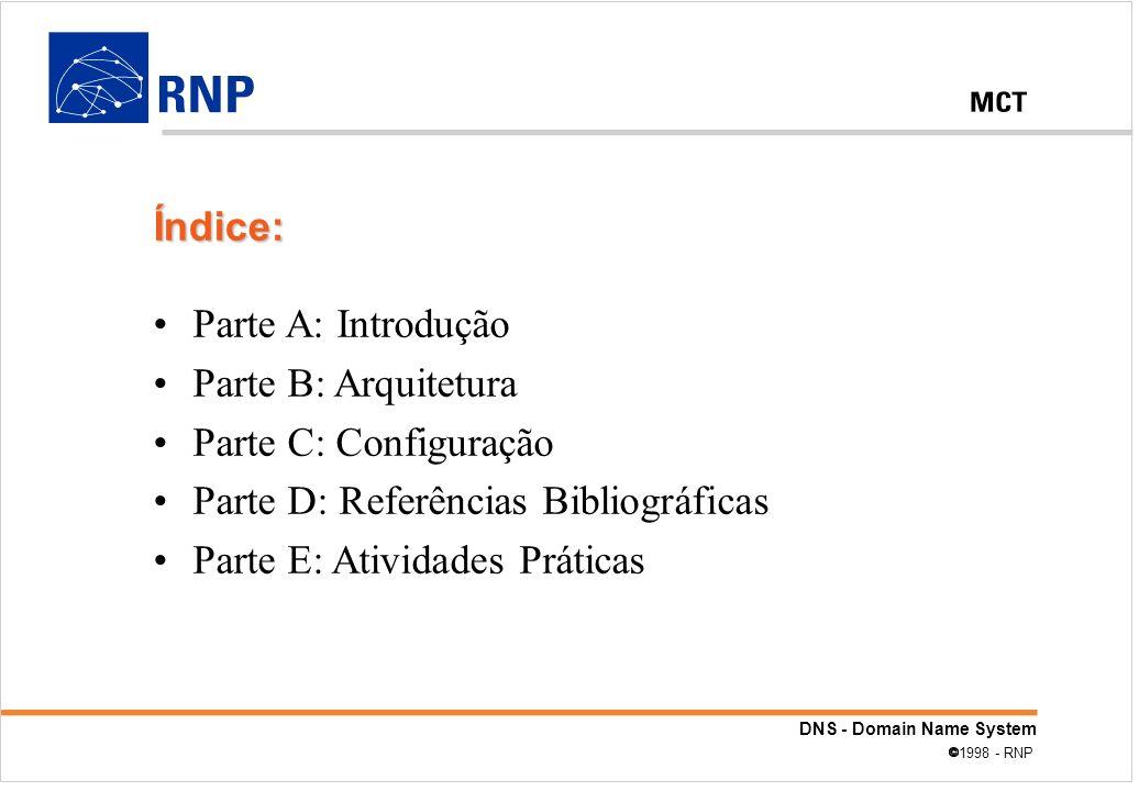 DNS - Domain Name System 1998 - RNP Parte A: Introdução Parte B: Arquitetura Parte C: Configuração Parte D: Referências Bibliográficas Parte E: Ativid