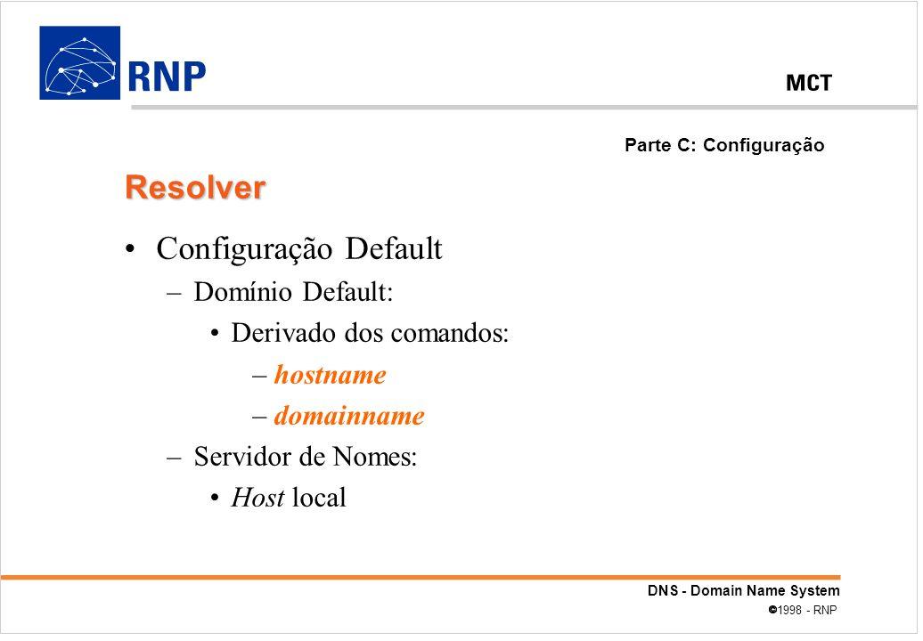 DNS - Domain Name System 1998 - RNP Configuração Default –Domínio Default: Derivado dos comandos: –hostname –domainname –Servidor de Nomes: Host local