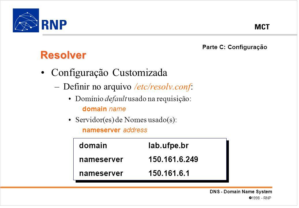 DNS - Domain Name System 1998 - RNP Configuração Customizada –Definir no arquivo /etc/resolv.conf: Domínio default usado na requisição: domain name Se