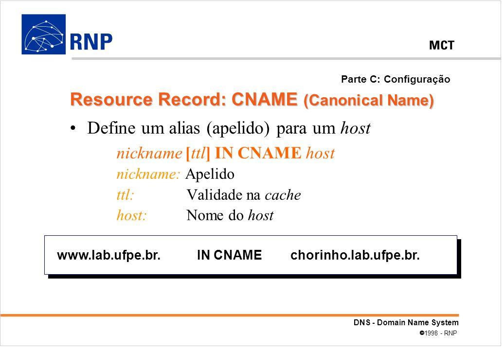 DNS - Domain Name System 1998 - RNP Define um alias (apelido) para um host nickname [ttl] IN CNAME host nickname: Apelido ttl: Validade na cache host: