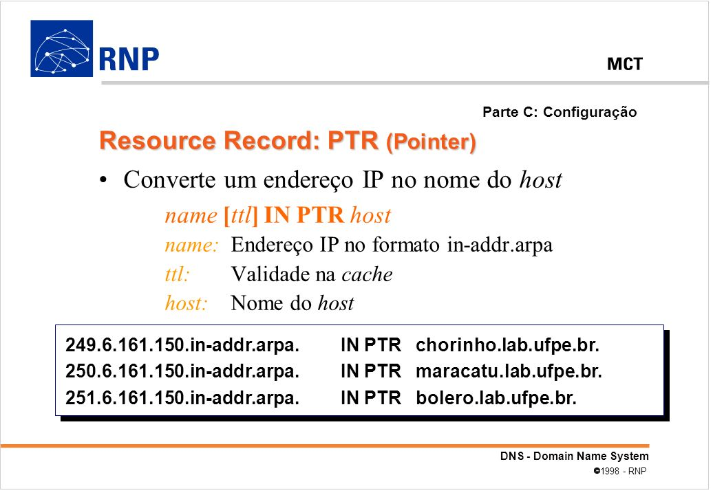 DNS - Domain Name System 1998 - RNP Converte um endereço IP no nome do host name [ttl] IN PTR host name: Endereço IP no formato in-addr.arpa ttl: Vali