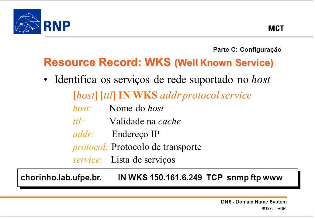 DNS - Domain Name System 1998 - RNP Identifica os serviços de rede suportado no host [host] [ttl] IN WKS addr protocol service host: Nome do host ttl: