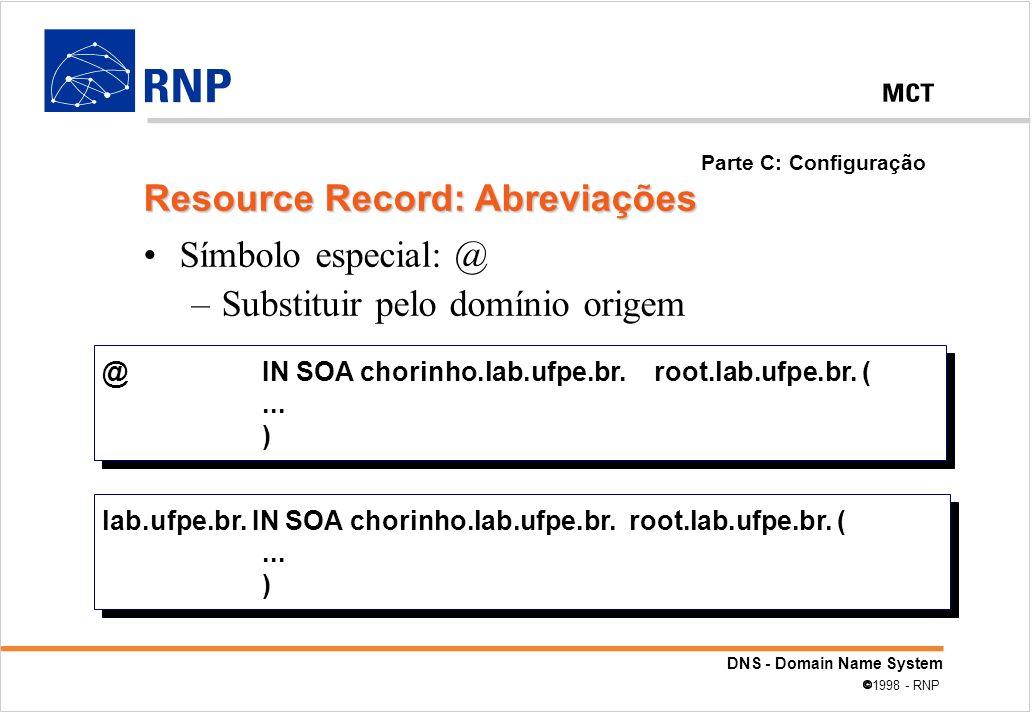 DNS - Domain Name System 1998 - RNP Símbolo especial: @ –Substituir pelo domínio origem lab.ufpe.br. IN SOA chorinho.lab.ufpe.br. root.lab.ufpe.br. (.