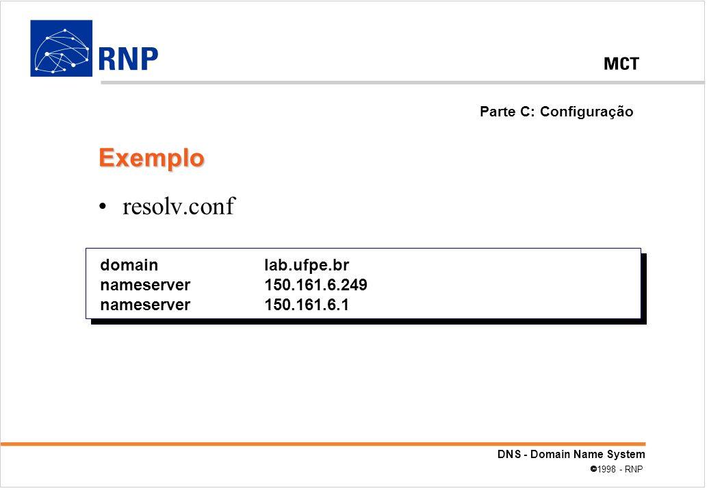 DNS - Domain Name System 1998 - RNP resolv.conf domain lab.ufpe.br nameserver 150.161.6.249 nameserver 150.161.6.1 Parte C: Configuração Exemplo