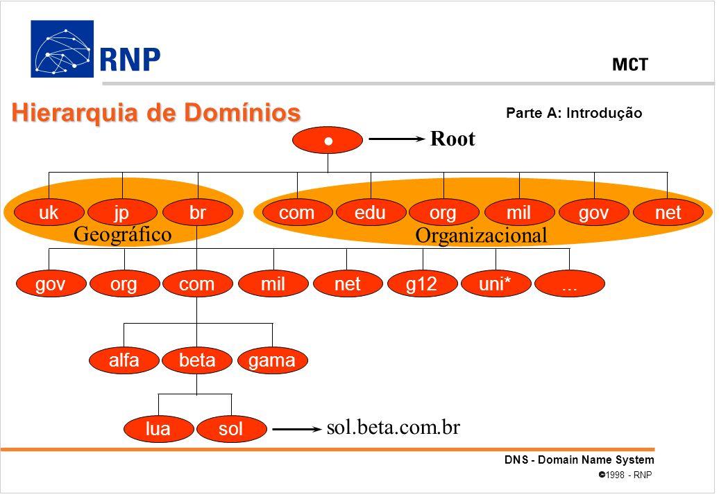 DNS - Domain Name System 1998 - RNP alfabetagama luasol sol.beta.com.br Root eduorgmilgovnetcomukjpbr orgcommilnetg12govuni*... Organizacional Geográf