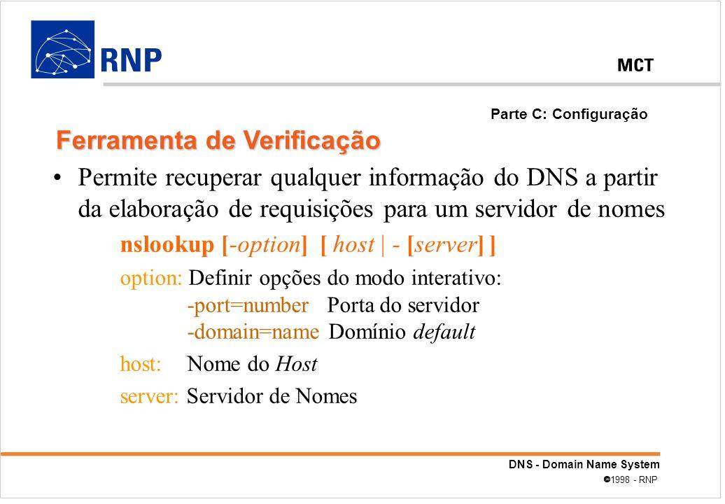 DNS - Domain Name System 1998 - RNP Permite recuperar qualquer informação do DNS a partir da elaboração de requisições para um servidor de nomes nsloo