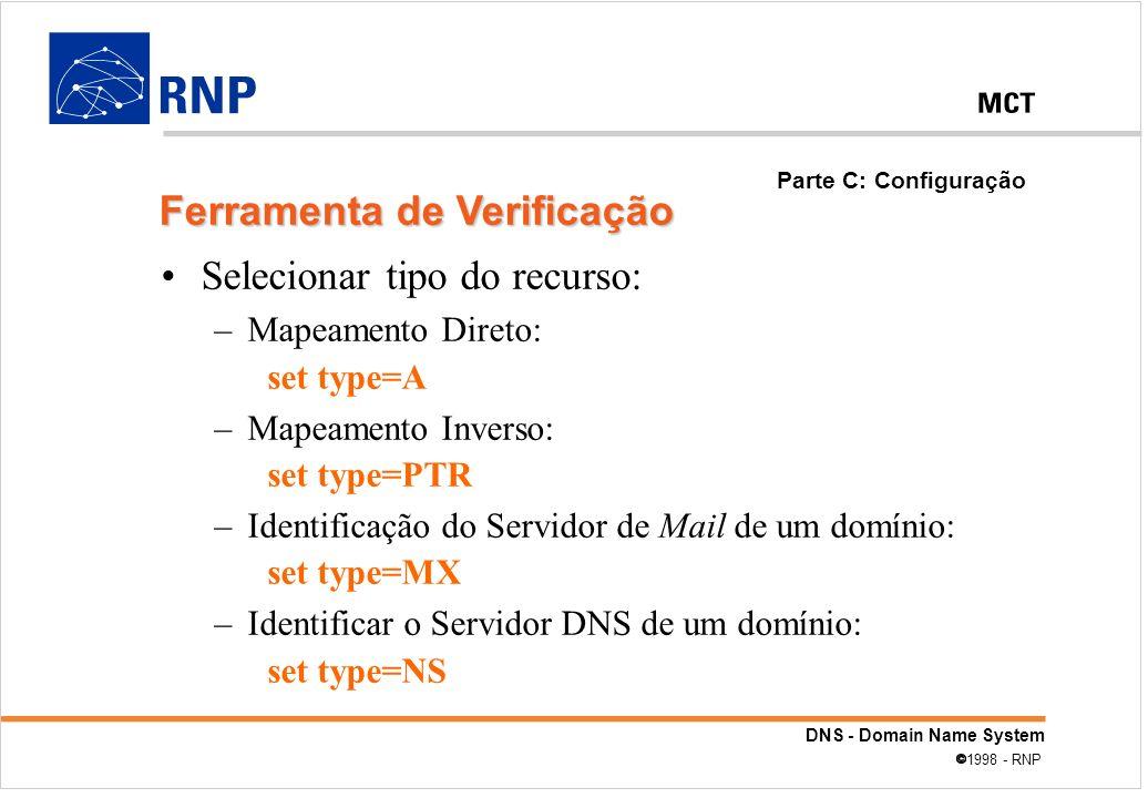 DNS - Domain Name System 1998 - RNP Selecionar tipo do recurso: –Mapeamento Direto: set type=A –Mapeamento Inverso: set type=PTR –Identificação do Ser