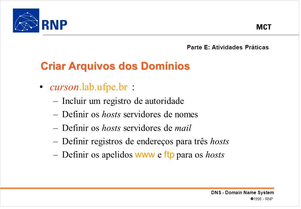 DNS - Domain Name System 1998 - RNP curson.lab.ufpe.br : –Incluir um registro de autoridade –Definir os hosts servidores de nomes –Definir os hosts se