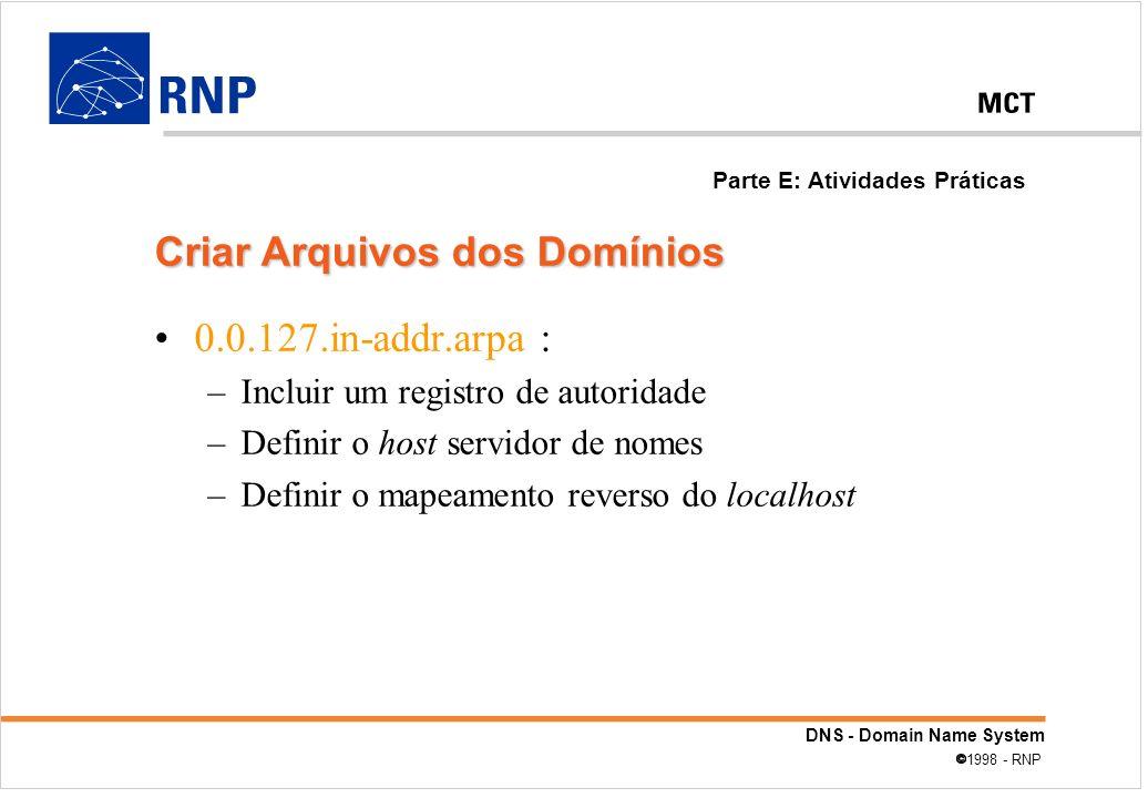 DNS - Domain Name System 1998 - RNP 0.0.127.in-addr.arpa : –Incluir um registro de autoridade –Definir o host servidor de nomes –Definir o mapeamento