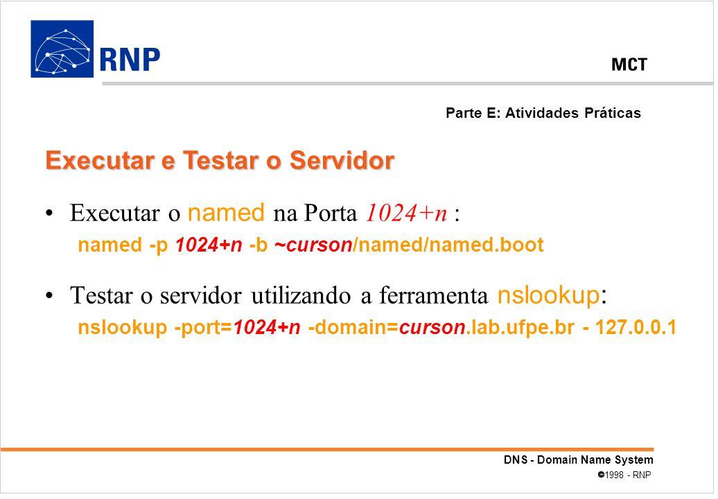 DNS - Domain Name System 1998 - RNP Executar o named na Porta 1024+n : named -p 1024+n -b ~curson/named/named.boot Testar o servidor utilizando a ferr
