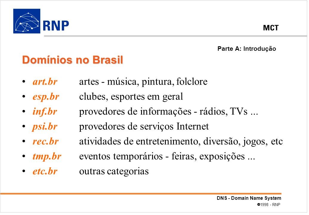 DNS - Domain Name System 1998 - RNP 0.0.127.in-addr.arpa.local @ IN SOA chorinho.lab.ufpe.br.