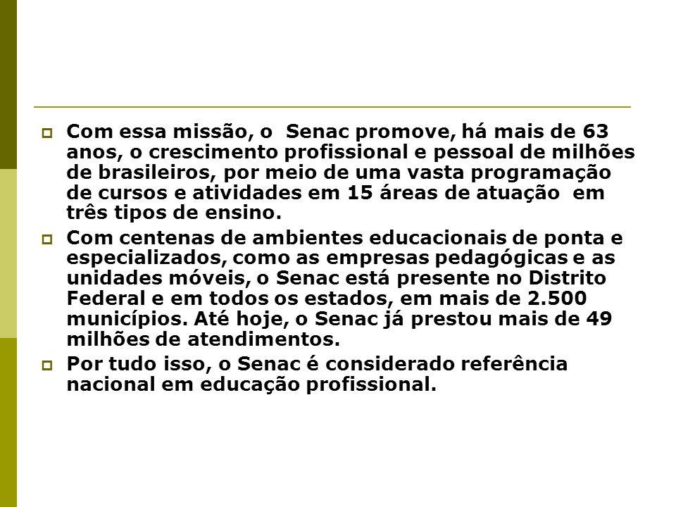 Com essa missão, o Senac promove, há mais de 63 anos, o crescimento profissional e pessoal de milhões de brasileiros, por meio de uma vasta programaçã