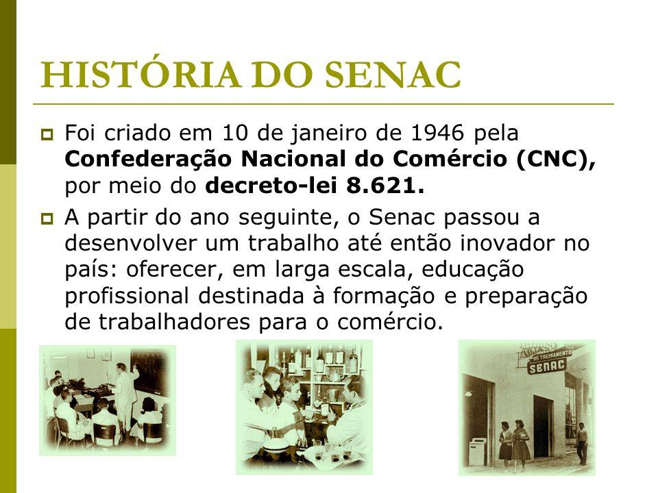 HISTÓRIA DO SENAC Foi criado em 10 de janeiro de 1946 pela Confederação Nacional do Comércio (CNC), por meio do decreto-lei 8.621. A partir do ano seg