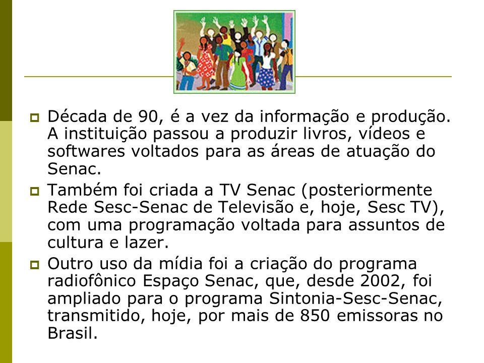 Década de 90, é a vez da informação e produção. A instituição passou a produzir livros, vídeos e softwares voltados para as áreas de atuação do Senac.