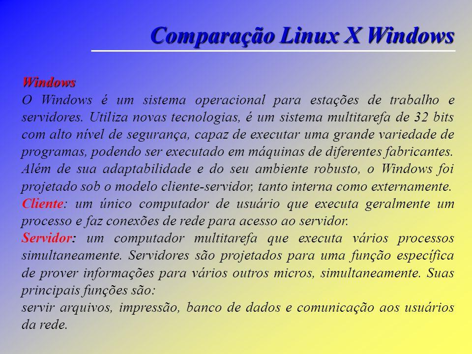 Comparação Linux X Windows Linux É um sistema operacional Unix, multiusuário, multitarefa e multiprocessado, de livre distribuição, disponível para eq