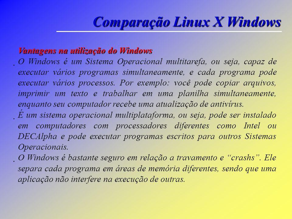 Comparação Linux X Windows Vantagens na utilização do Linux O Linux é um Sistema Operacional livre e gratuito, pode ser instalado em quantas máquinas