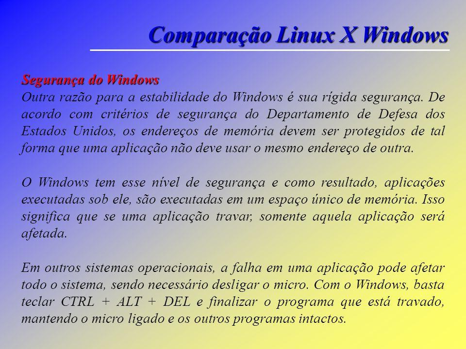 Comparação Linux X Windows Segurança do Linux Diversas ferramentas básicas de segurança, como SSL, encriptação RSA, firewalls, alarmes de