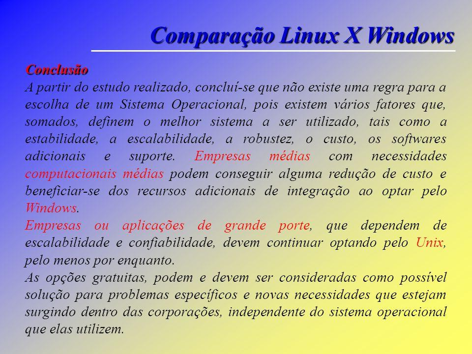 Comparação Linux X Windows Foram realizadas cinco transferências, usando FTP, em cada máquina, de um arquivo de 19MB de tamanho. Ambas as máquinas for