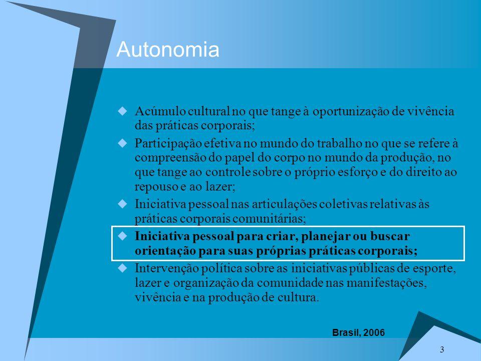 3 Autonomia Acúmulo cultural no que tange à oportunização de vivência das práticas corporais; Participação efetiva no mundo do trabalho no que se refe