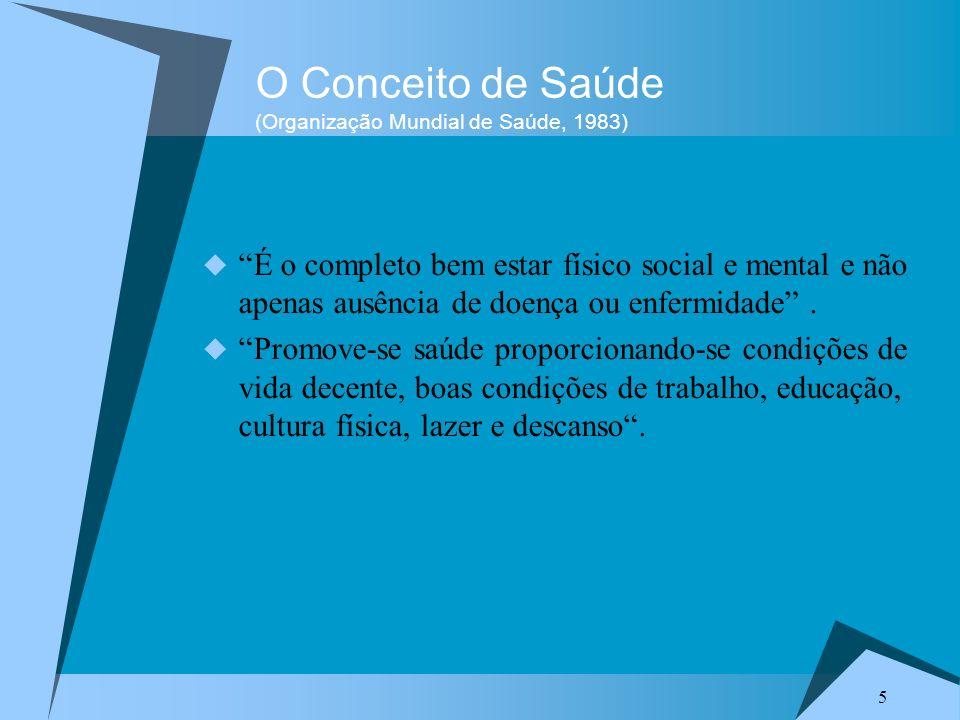 5 O Conceito de Saúde (Organização Mundial de Saúde, 1983) É o completo bem estar físico social e mental e não apenas ausência de doença ou enfermidad
