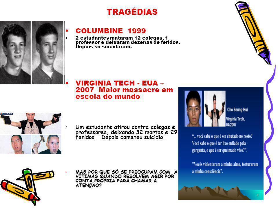 TRAGÉDIAS COLUMBINE 1999 2 estudantes mataram 12 colegas, 1 professor e deixaram dezenas de feridos. Depois se suicidaram. VIRGINIA TECH - EUA – 2007