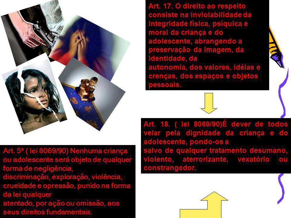 Art. 5º ( lei 8069/90) Nenhuma criança ou adolescente será objeto de qualquer forma de negligência, discriminação, exploração, violência, crueldade e